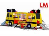 Schoolbus met glijbanen