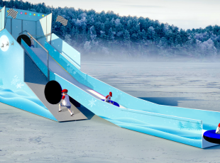 Mobiele attractie bandenslide winter